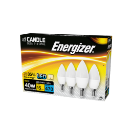 S14330 Energizer Led Candle 470LM 6W Opal E14 (SES) Warm White, Pack Of 4