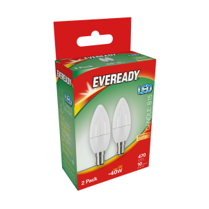 S15334 Eveready Led Candle 470LM Opal  B15 (SBC) Warm White, Pack Of 2