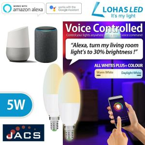 LOHAS Smart WIFI CANDLE E14 Tunable White(2000K-6500K) Works with Alexa & Google (Pack of 5)