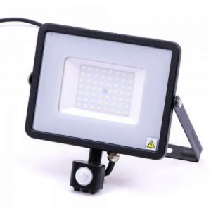 V-TAC-50-S 50W SMD  Pir Sensor Floodlight With Samsung Chip Colorcode:4000K BLACK BODY GREY GLASS