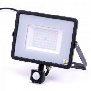 V-TAC -50-S 50W SMD Pir Sensor Floodlight With Samsung Chip Colorcode:6400K BLACK BODY GREY GLASS
