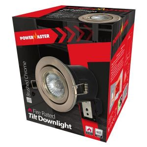Powermaster Fire Rated Tilt Downlight - Brushed Chrome
