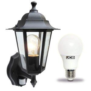 Outdoor Black PIR Wall Lantern - With Bulb