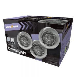 Powermaster Indoor 3 Pack Tilt Downlights - Brushed Chrome