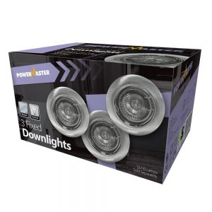 Powermaster Indoor 3 Pack Fixed Downlights - Chrome