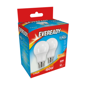 S15303 Eveready Led Gls 806LM E27 (ES) Warm White, Pack Of 2