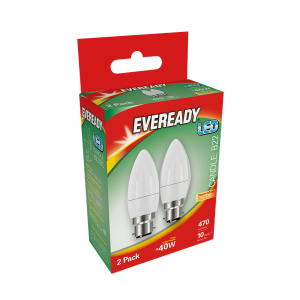 S15297 Eveready Led Candle 470LM Opal B22 (BC) Warm White, Pack Of 2