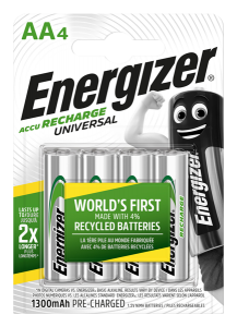 S625 Energizer AA 1300MAH Recharge Universal, Pack Of 4