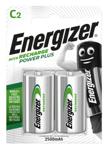S633 Energizer C Size 2500MAH Recharge Power Plus, Pack Of 2