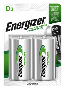 S639 Energizer D Size 2500MAH Recharge Power Plus, Pack Of 2