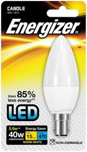 Energizer Led Candle 470LM 5.9W OPAL B15 (SBC) Warm White