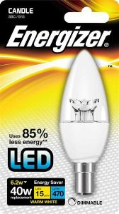 Energizer Led Candle 470LM 6.2W CLEAR B15 (SBC) Warm White Dimmable
