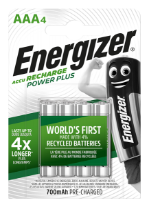 S10261 Energizer AAA 700MAH Recharge Power Plus, Pack Of 4
