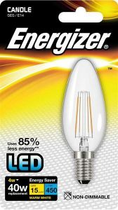 S9030 Energizer Filament Led Candle 470LM 4W E14 (SES) Warm White