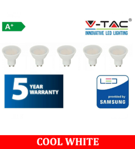 V-TAC 5W GU10 400lm 6400K (5 Pack)