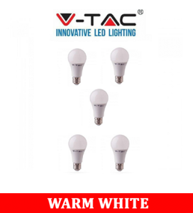 V-TAC 219 9W A60 Led Plastic Bulb With Samsung Chip Colorcode:3000k B22 5PCS/Pack