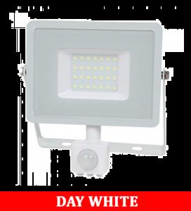 V-TAC 30-S 30W SMD PIR Sensor Floodlight With Samsung Chip Colorcode:4000K White Body White Glass
