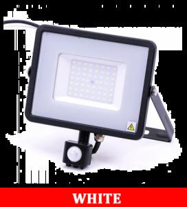V-TAC 50-S 50W SMD Pir Sensor Floodlight With Samsung Chip Colorcode:6400k Black Body Grey Glass
