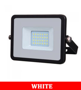 V-Tac 10-1 10w Smd Floodlight With Samsung Chip&Cable(1m) Colorcode:6400k Black Body Grey Glass