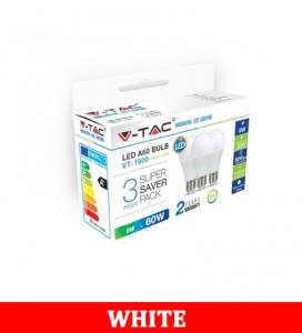 V-Tac 1900 9W A60 Led Plastic Bulb Colorcode:6400k E27 3pcs/Pack