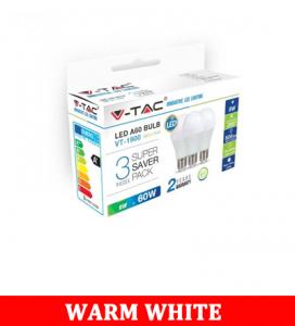 V-Tac 1900 9W A60 Led Plastic Bulb Colorcode:2700k E27 3pcs/Pack