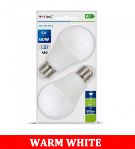 V-TAC 2129 9W A60 Led Plastic 3 Step Dimming Bulb Colorcode:2700k E27 2pcs Blister Pack