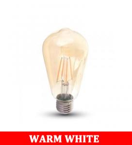 V-Tac 1968 8w Led St64 Amber Cover Filament Bulb Colorcode:2200k E27