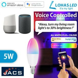 LOHAS Smart Candle Bulb E14 SES Dimmable Works with Alexa and Google Home (Pack of 4)