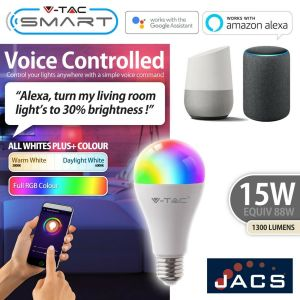 V-TAC SMART 15W E27 A65 With Amazon Alexa And Google Home RGB+WW+CW