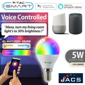 V-TAC SMART E14 GOLF Compatible With Amazon Alexa & Google Home RGB+WW+CW