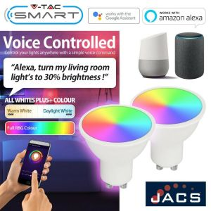 V-TAC Smart WiFi GU10 RGB + All Whites, Compatible with Alexa and Google Home (1 Bulb)