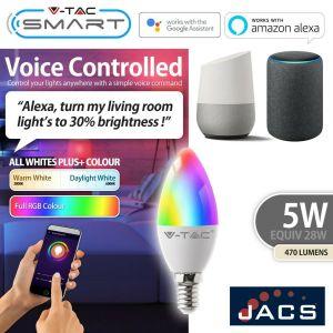 V-TAC SMART E14 Candle Compatible With Amazon Alexa & Google Home RGB+WW+CW