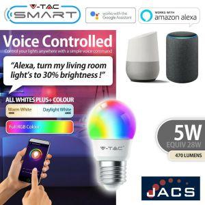 V-TAC SMART E27 GOLF Compatible With Amazon Alexa & Google Home RGB+WW+CW