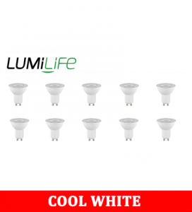 S16377 LumiLife 6W GU10 LED Spotlight - 500 Lumen - Cool White - Dimmable Pack of 10