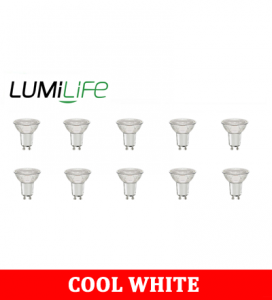 S16384 LumiLife 4.6W Glass GU10 LED Spotlight - 375 Lumen - Cool White - Dimmable Pack of 10
