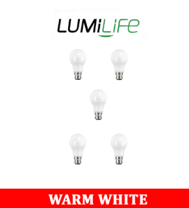 S16405 LumiLife 8.8W B22 (BC) GLS LED - 806 Lumen - Warm White - Dimmable Pack of 5