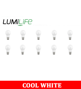 S16407 LumiLife 8.8W B22 (BC) GLS LED - 806 Lumen - Cool White - Dimmable Pack of 10