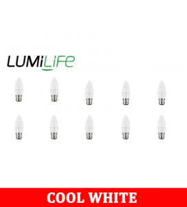 S16417 LumiLife 5W B22 (BC) Candle LED - 470 Lumen - Cool White - Dimmable Pack of 10