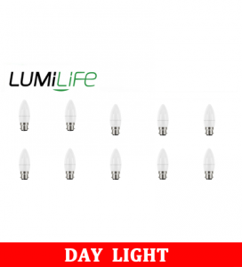 S16418 LumiLife 5W B22 (BC) Candle LED - 470 Lumen - Daylight - Dimmable Pack of 10