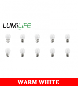 S16419 LumiLife 5W B22 (BC) Golf LED - 470 Lumen - Warm White - Dimmable Pack of 10