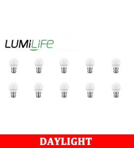 S16421 LumiLife 5W B22 (BC) Golf LED - 470 Lumen - Daylight - Dimmable Pack of 10