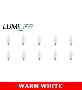 S16422 LumiLife 5W E14 (SES) Candle LED - 470 Lumen - Warm White - Dimmable Pack of 10