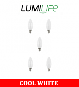 S16423 LumiLife 5W E14 (SES) Candle LED - 470 Lumen - Cool White - Dimmable Pack of 5