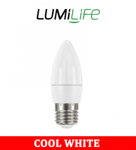 S16423 LumiLife 5W E14 (SES) Candle LED - 470 Lumen - Cool White - Dimmable