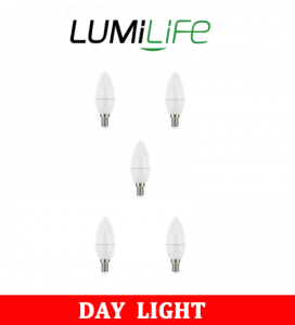 S16424 LumiLife 5W E14 (SES) Candle LED - 470 Lumen - Daylight - Dimmable Pack of 5