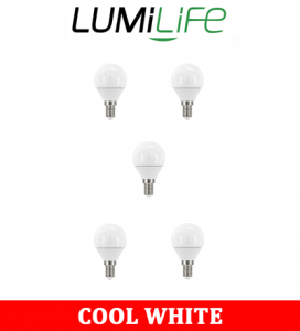 S16426 LumiLife 5W E14 (SES) Golf LED - 470 Lumen - Cool White - Dimmable Pack of 5