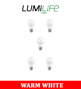 S16432 LumiLife 8.2W E27 (ES) GLS LED - 806 Lumen - Warm White Pack of 5