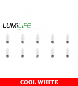 S16445 LumiLife 5W E27 (ES) Candle LED - 470 Lumen - Cool White - Dimmable Pack of 10