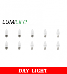 S16446 LumiLife 5W E27 (ES) Candle LED - 470 Lumen - Daylight - Dimmable Pack of 10