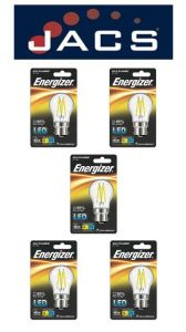 Energizer Filament Led Golf 470LM 4W B22 (BC) Warm White, Pack Of 5